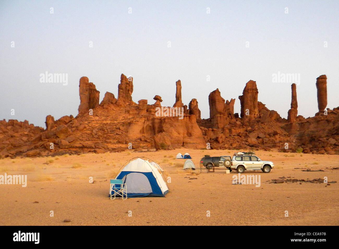 Campsite, Ennedi region, Chad - Stock Image