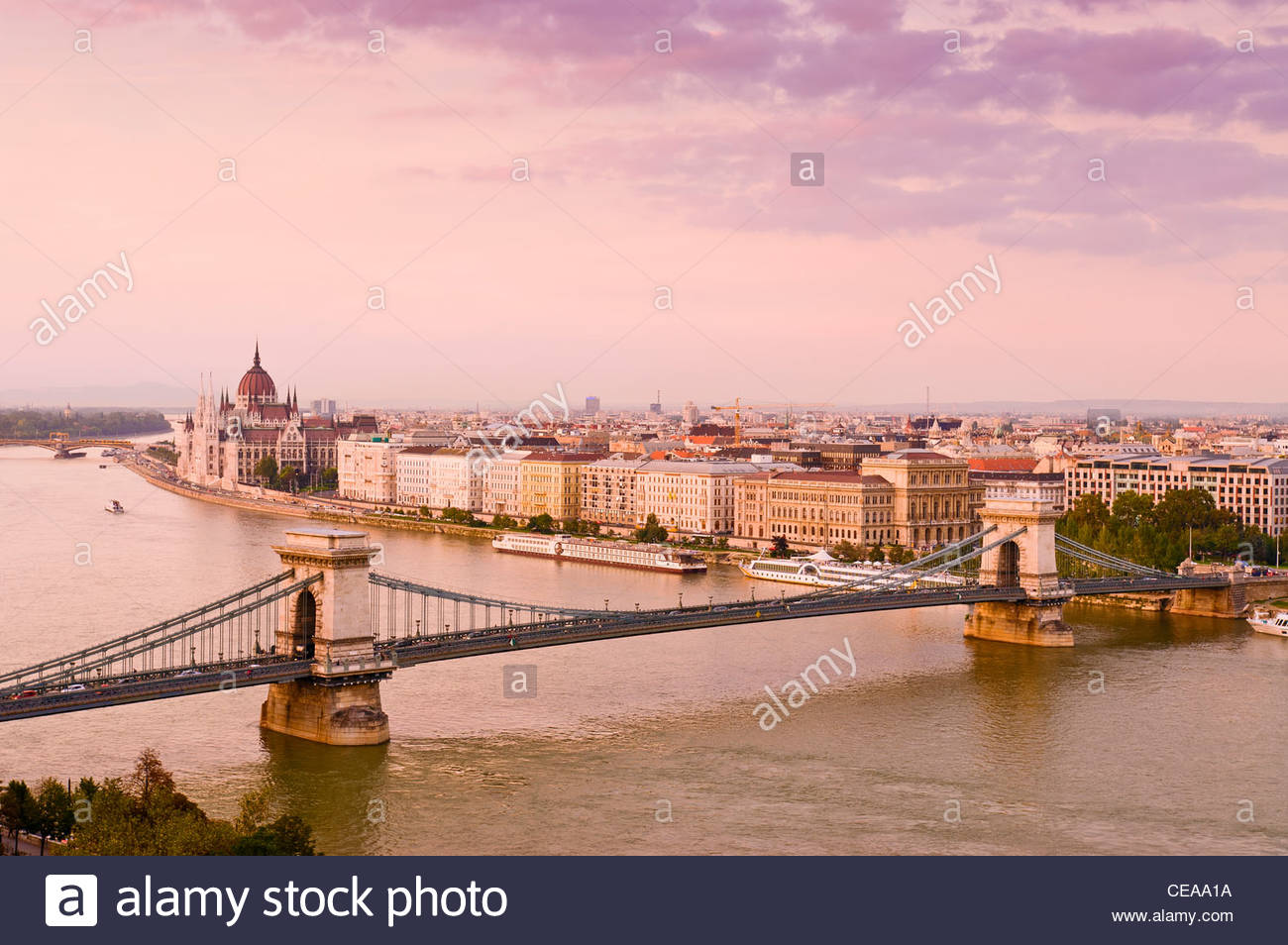 Budapest Danube River Chain Bridge Dusk Hungary - Stock Image