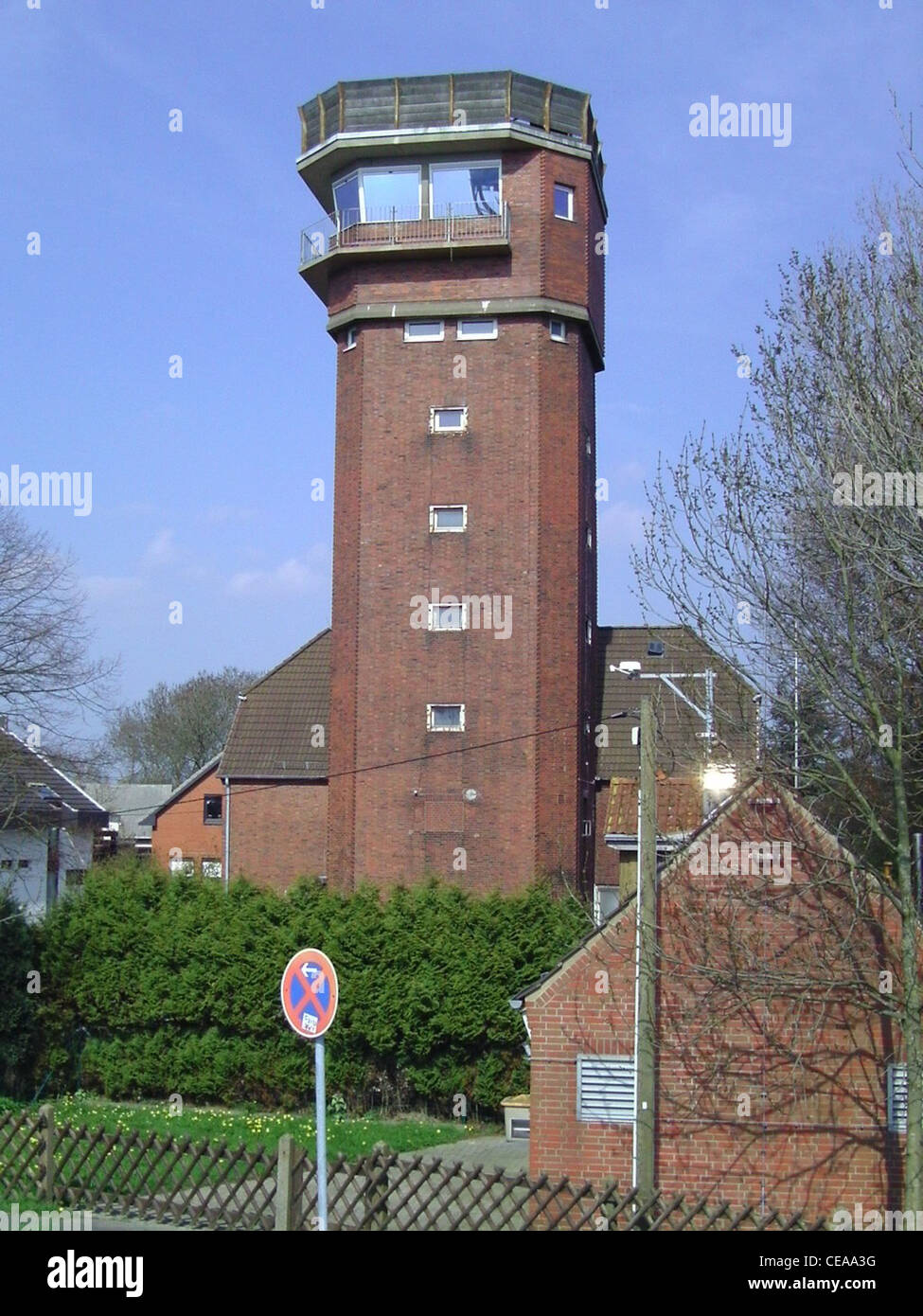 Former tower for anti-aircraft surveillance in Bremerhaven - Stock Image