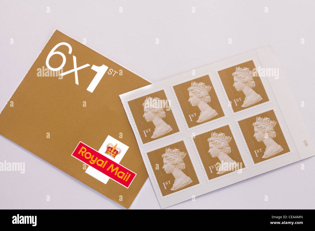 First class 1st class english postage stamps, UK - Stock Image