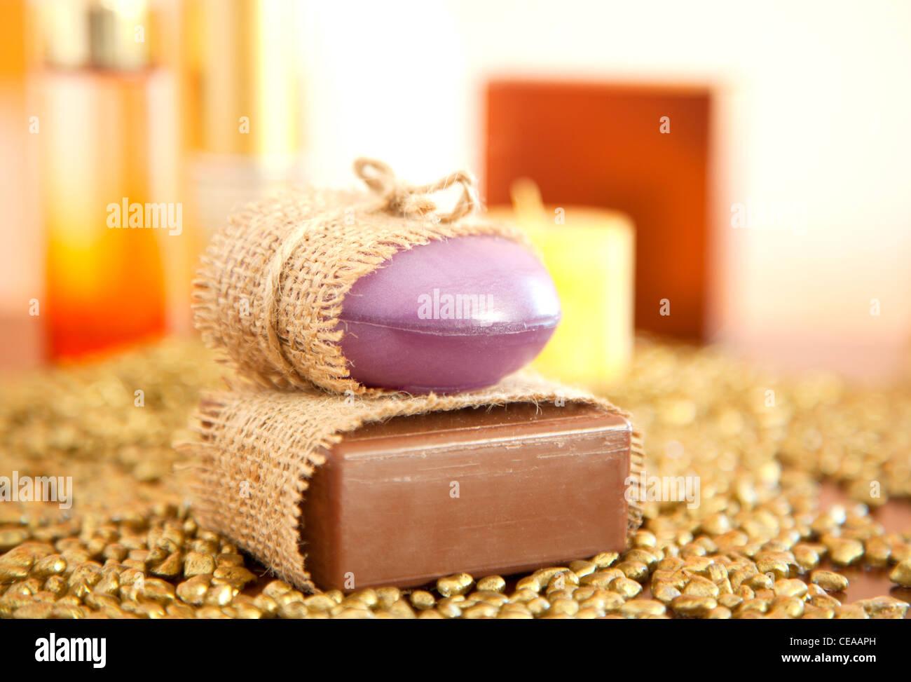 Handmade Soap closeup. - Stock Image