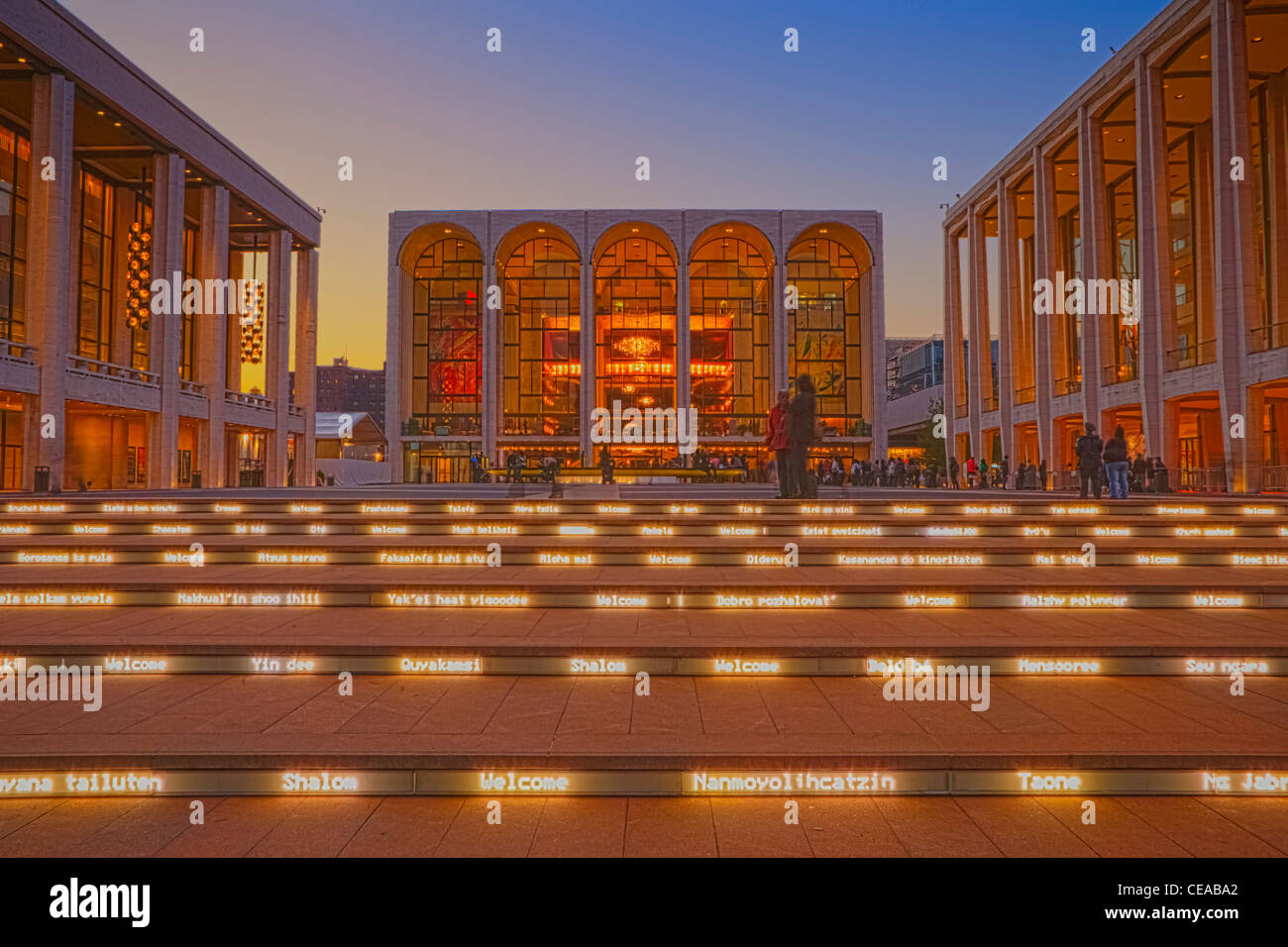 Welcome signs on the steps of the Lincoln Center for the Performing Arts - Stock Image
