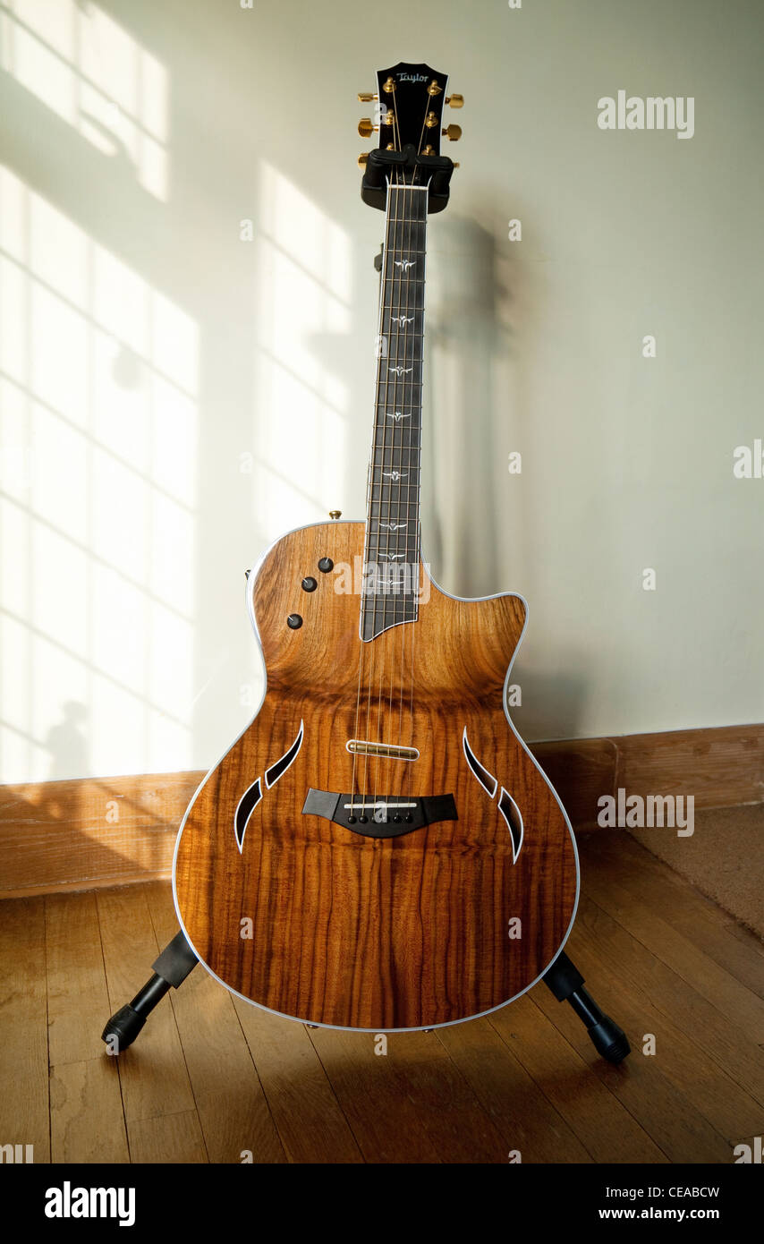 A Taylor T5 thinline electric / acoustic hybrid custom guitar with grafted walnut top - Stock Image