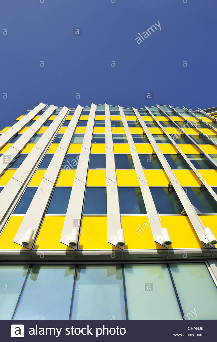 ''The Yellow Building'' modern glazed architecture detail, Notting Dale Village, London UK - Stock Image
