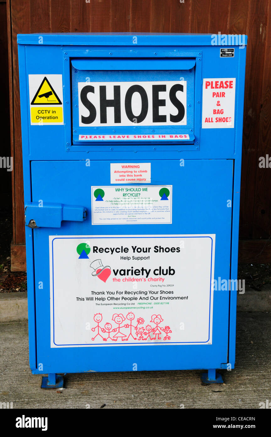 Shoes Recycling Collection Bin for The Variety Club, Cambridge, England, UK - Stock Image