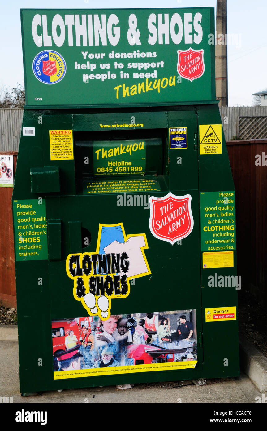 Clothing and Shoes Recycling Collection Bin for The Salvation Army, Cambridge, England, UK - Stock Image