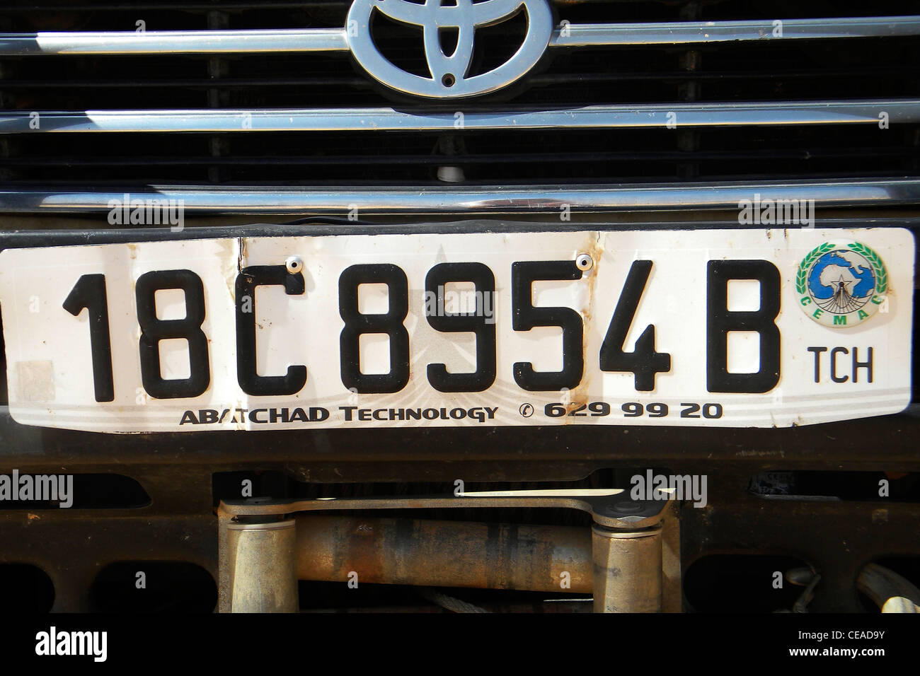 Chad car plate, Chad - Stock Image
