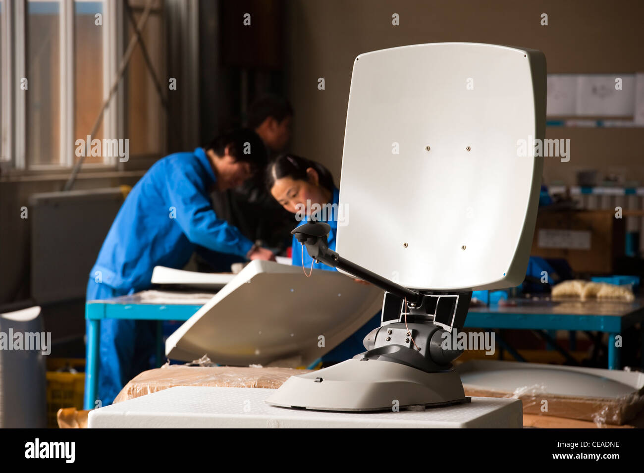 Mobile satellite dish technological industry, Hebei, Province of Hebei, China, Asia. Stock Photo