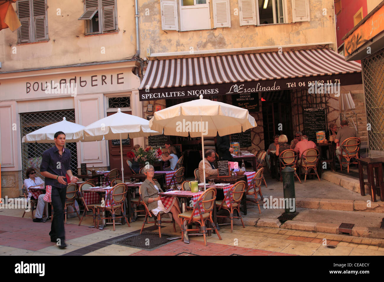 Cafe, Old Town, Vieux Nice, Nice, French Riviera, Alpes Maritimes, Provence, Cote d Azur, France, Europe - Stock Image