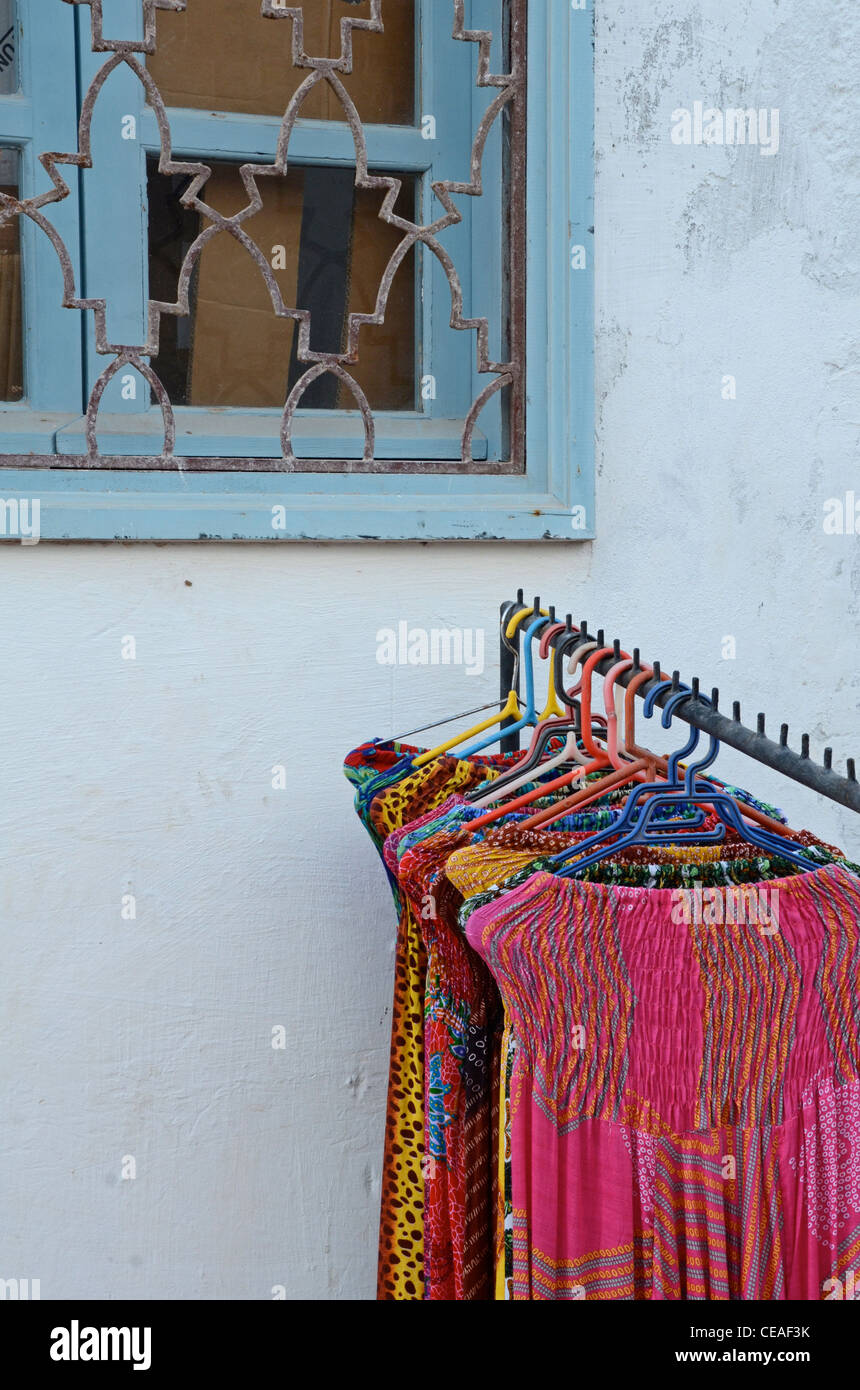 Lengths of fabric for sale, Morocco - Stock Image