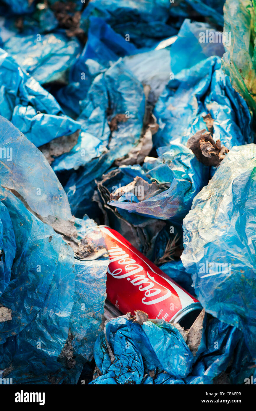 Discarded coca cola drinks can and plastic bags in the Indian countryside. Andhra Pradesh, India - Stock Image