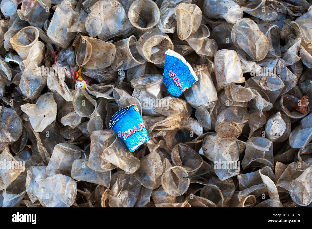 Discarded paper soda cups amongst plastic tea cups in the Indian countryside. Andhra Pradesh, India - Stock Image