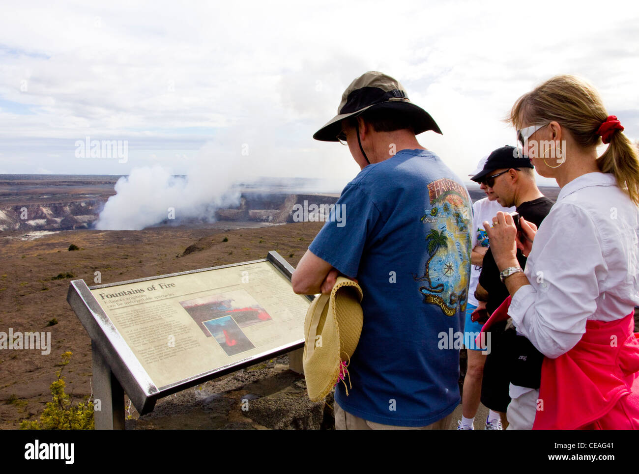 Volcanic gases from Halema'uma'u Crater, Kilauea Overlook, the most active point within Kilauea's summit - Stock Image