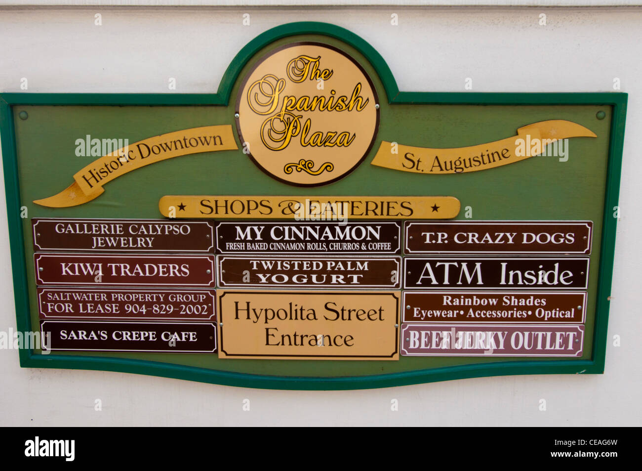 Sign with names of local businesses The Spanish Plaza, St George Street, St Augustine, Florida, United States, USA - Stock Image