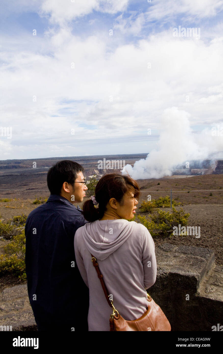 Volcanic gases billowing from Halema'uma'u Crater, Kilauea Overlook, Kilauea's summit caldera, Big Island, - Stock Image
