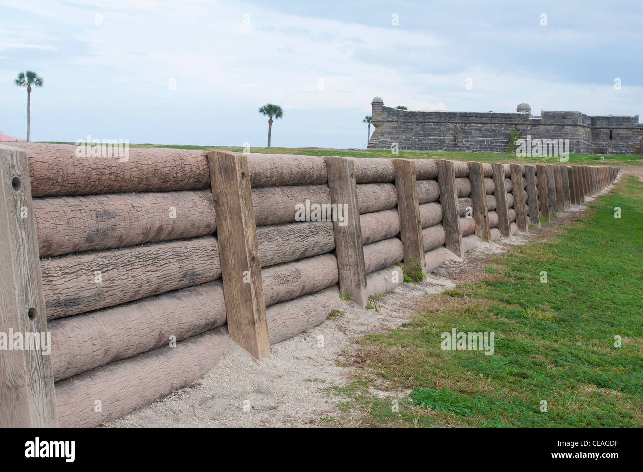 Wooden, palm tree trunk city wall in St Augustine, Florida