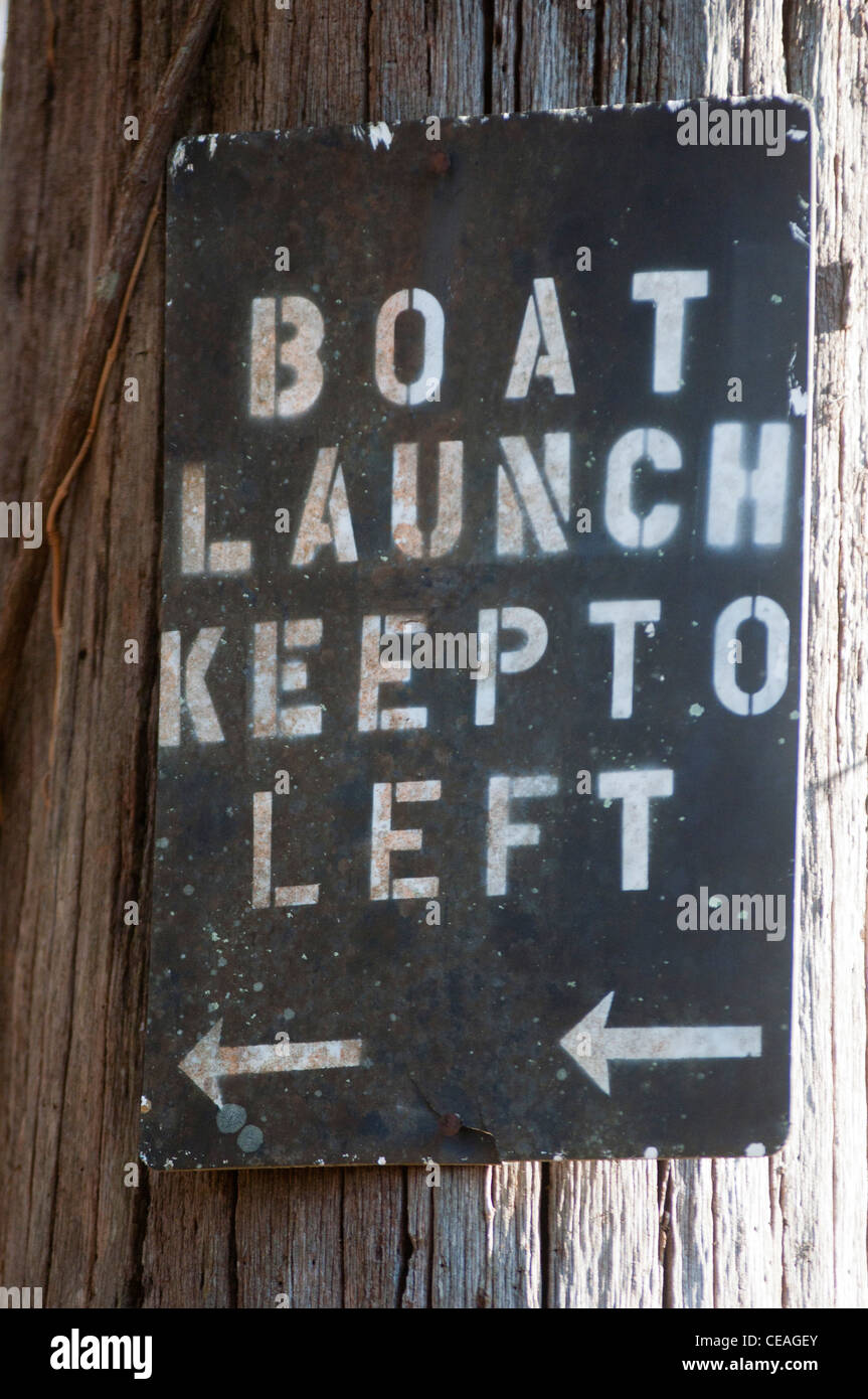 Boat Launch Keep to Left sign, Florida, Santa Fe river - Stock Image
