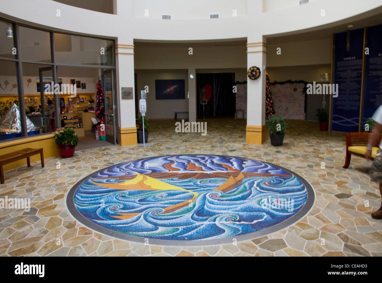 Floor art, Imiloa Astronomy Center, Hilo, Big island, Hawaii - Stock Image