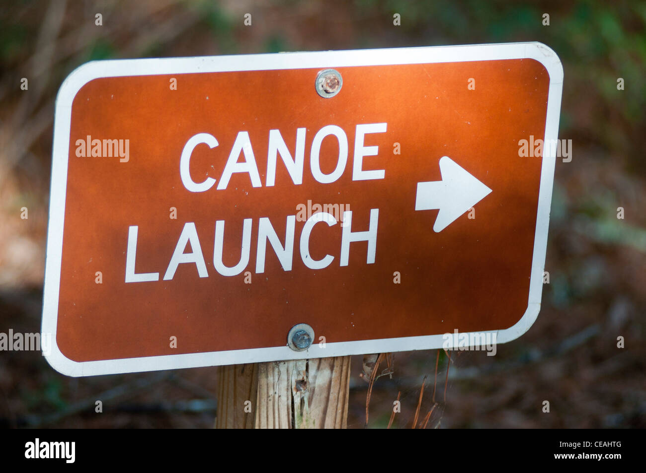 Canoe launch, arrow, sign Ichetucknee Springs State Park, Florida, North America, USA - Stock Image