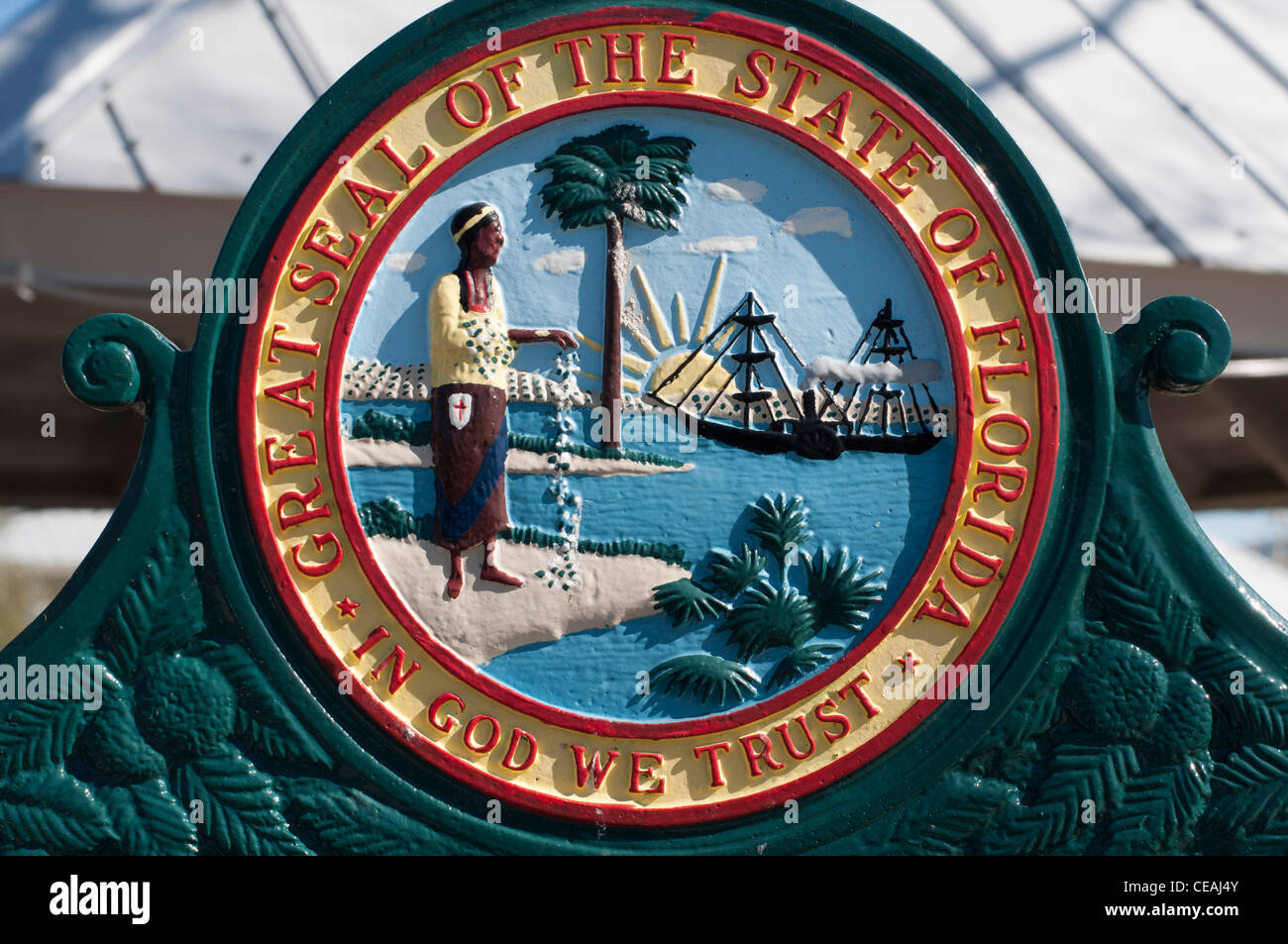 Great Seal of The State of Florida sign. In God we trust. Florida, United States, USA, North America - Stock Image