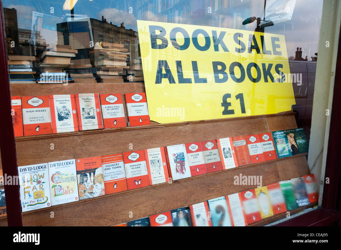 Shop window of a second-hand bookshop in Greenwich, South London. - Stock Image