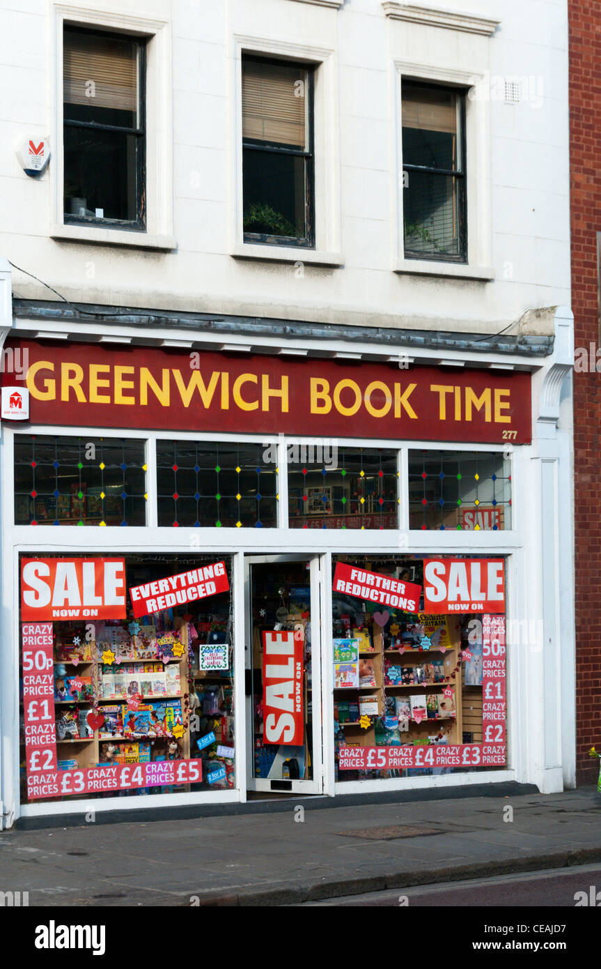 Greenwich Book Time bookshop in Greenwich, South London. - Stock Image
