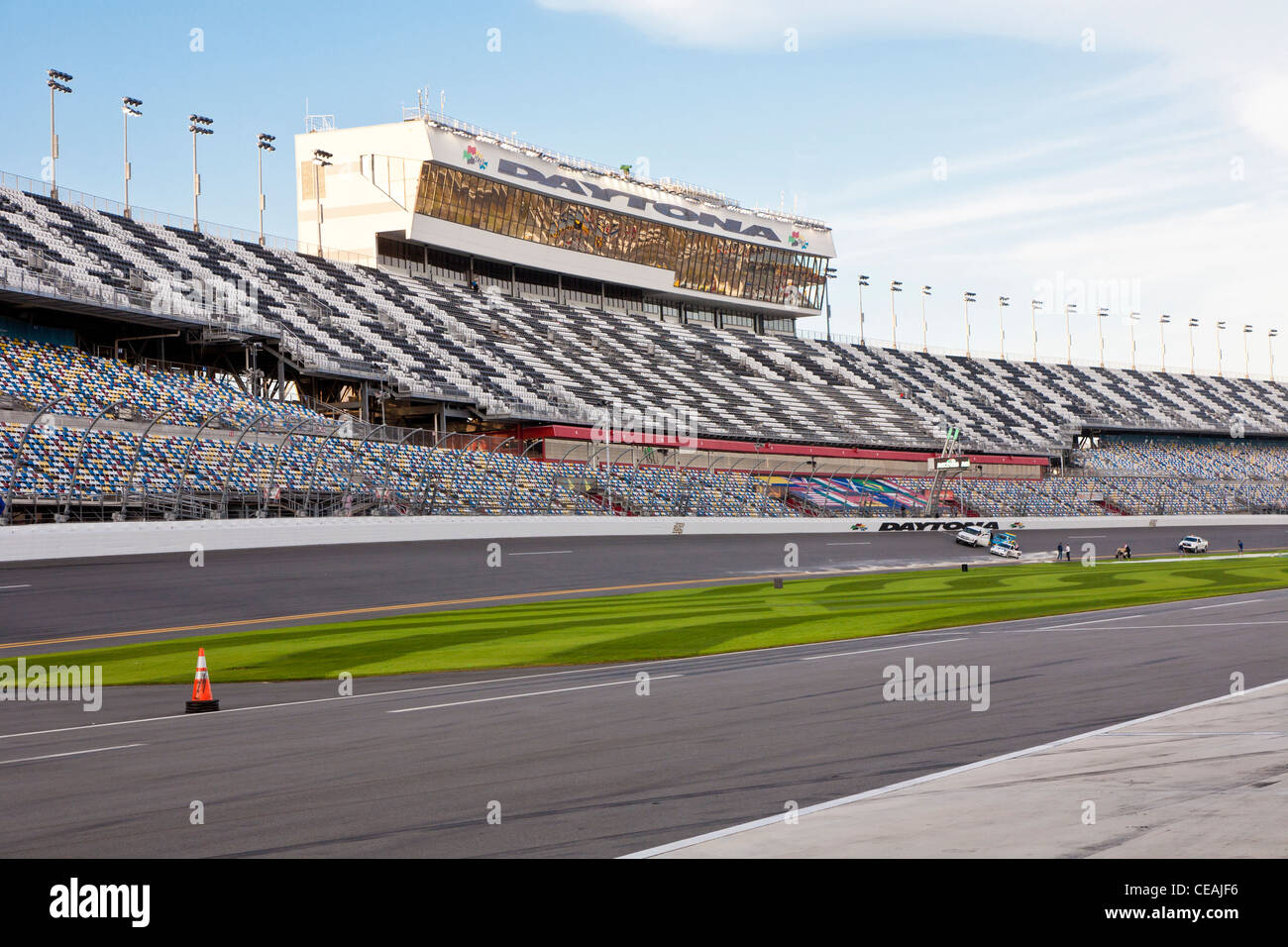 Main Grandstands on front stretch of the Daytona International Speedway - Stock Image