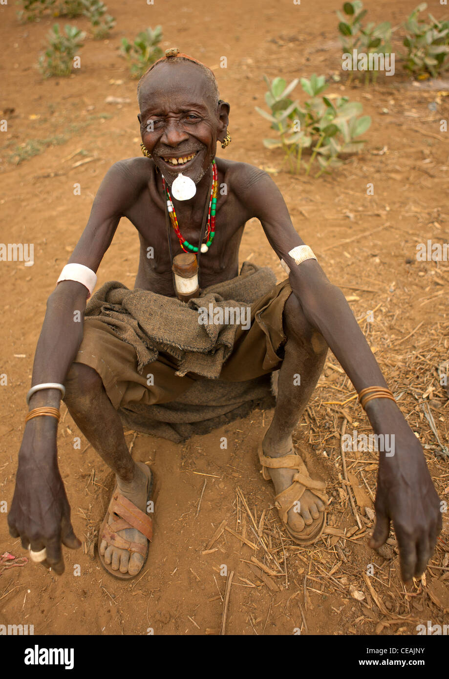 Senior Dassanech Man With Tricky Look And Original Clay Hairstyle Omorate Ethiopia - Stock Image