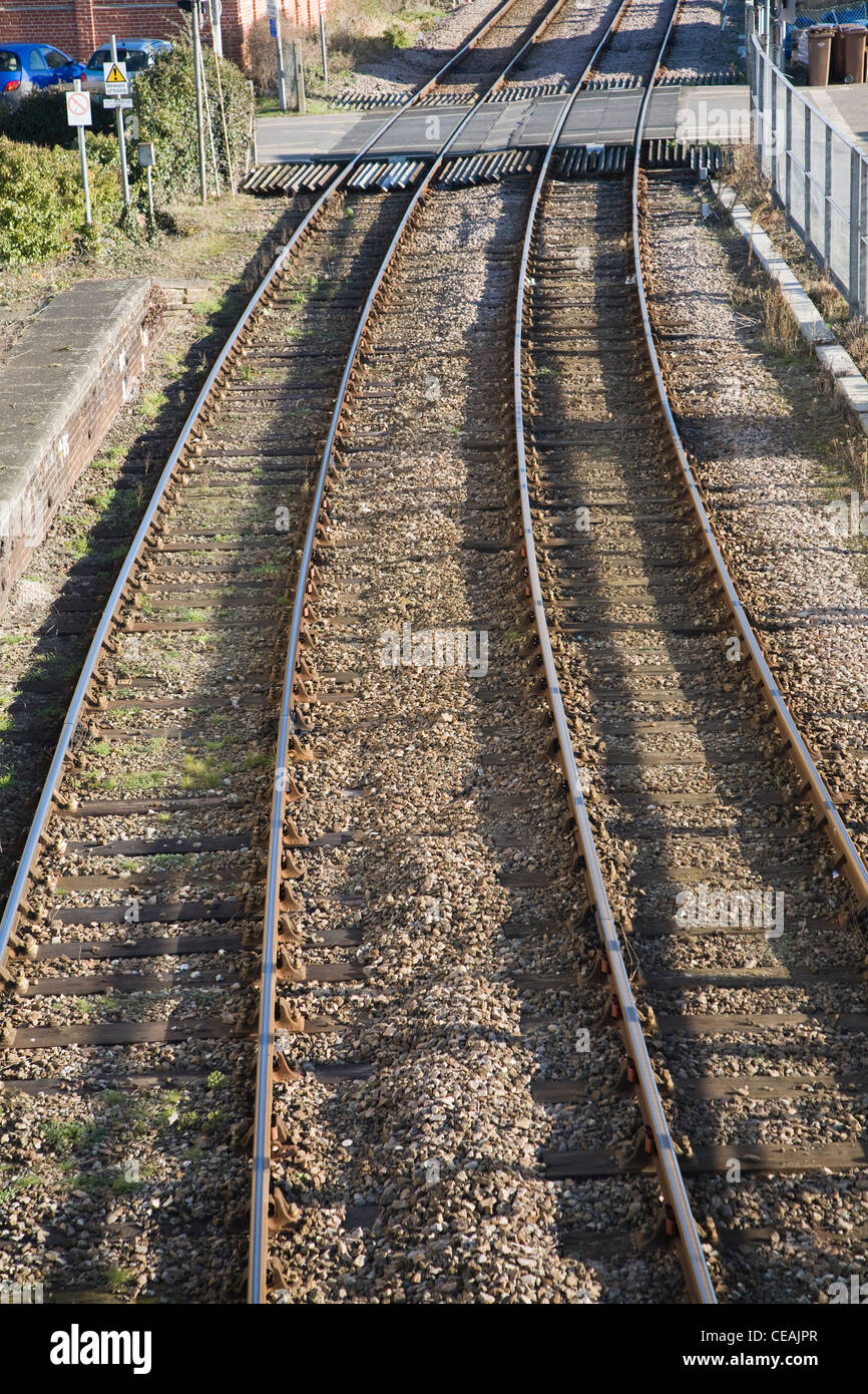 Two railway lines and level crossing - Stock Image
