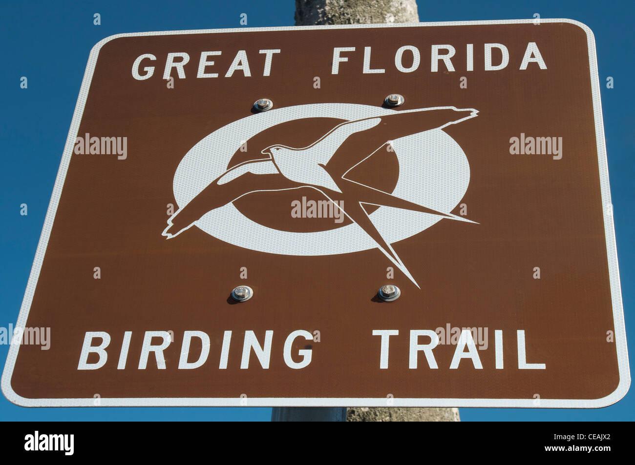 Great Florida Birding Trail sign, Cedar Key, Florida, United States, USA - Stock Image