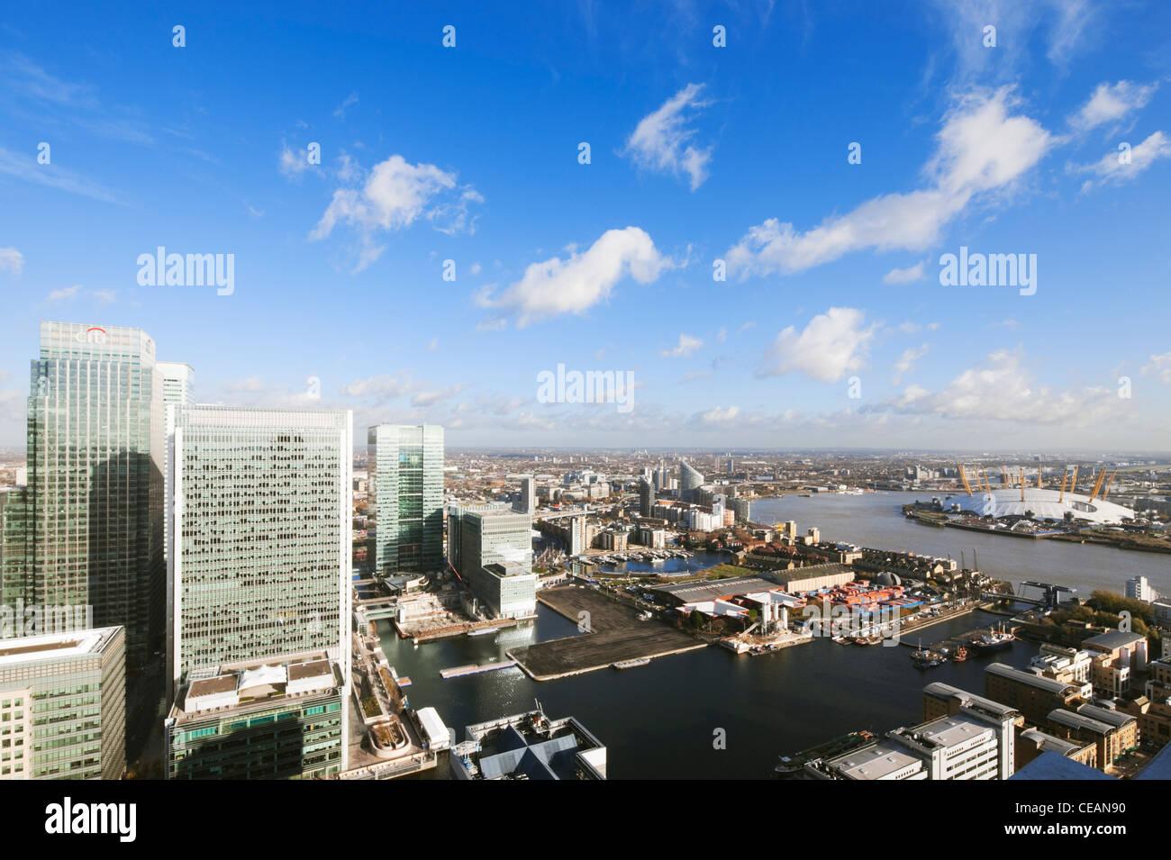 Canary Wharf buildings and O2 Arena; London; England - Stock Image