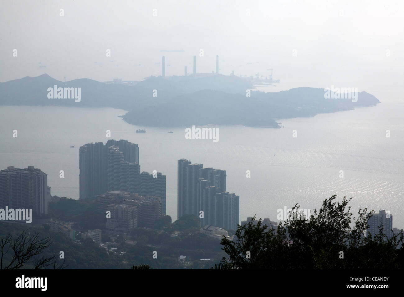 View over the South China sea towards Lantau from the garden of the governor's summer residence Victoria Peak - Stock Image