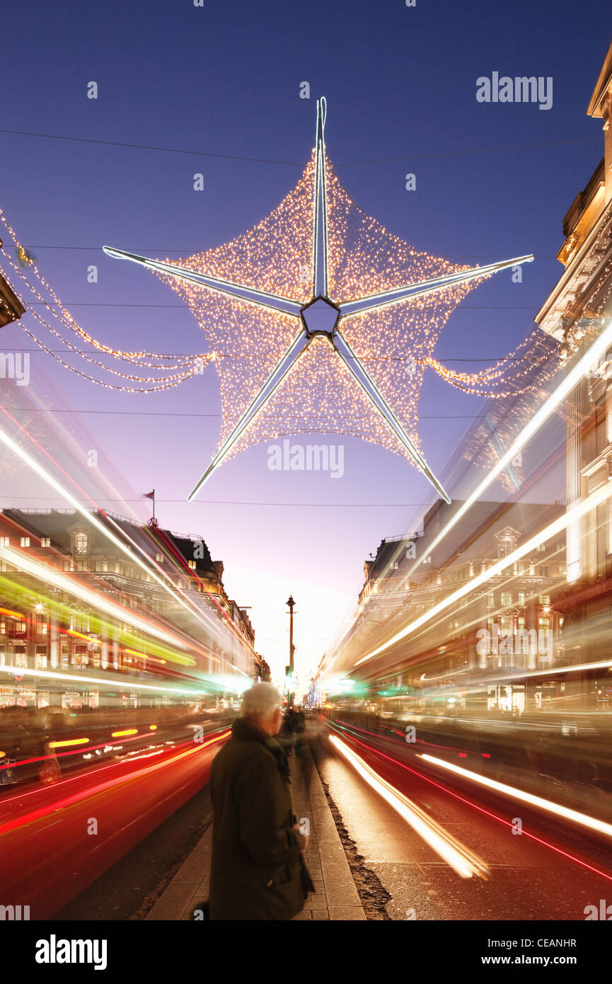 Christmas decorations in Oxford Street; London; England - Stock Image