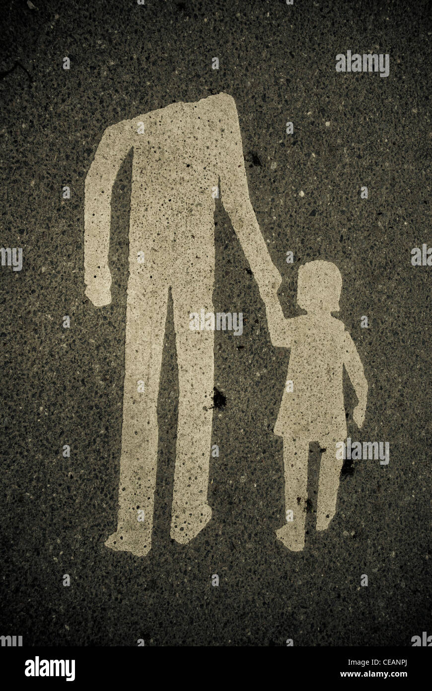 Sign with adult leading a child - Stock Image