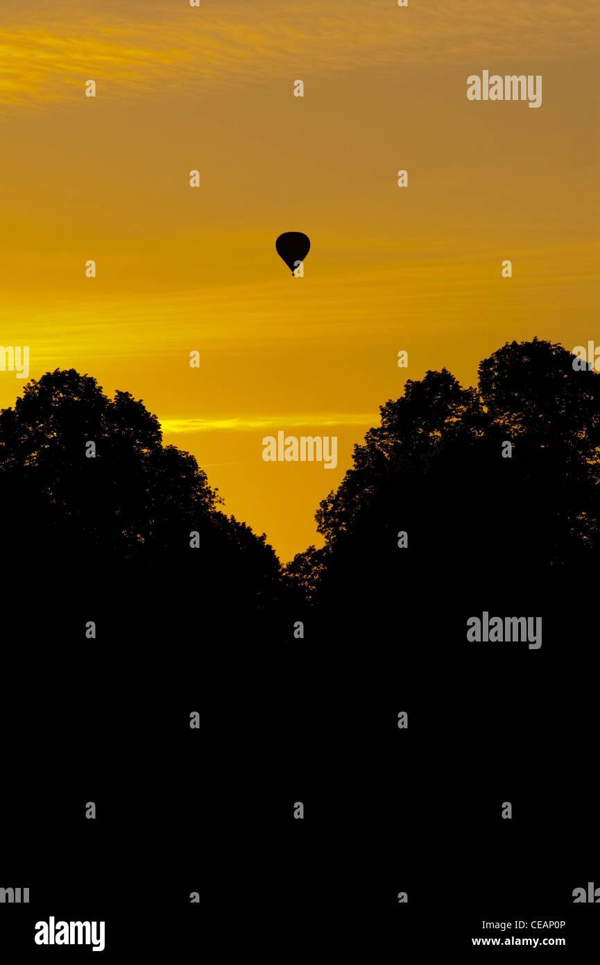 Hot Air Balloon at sunset - Stock Image