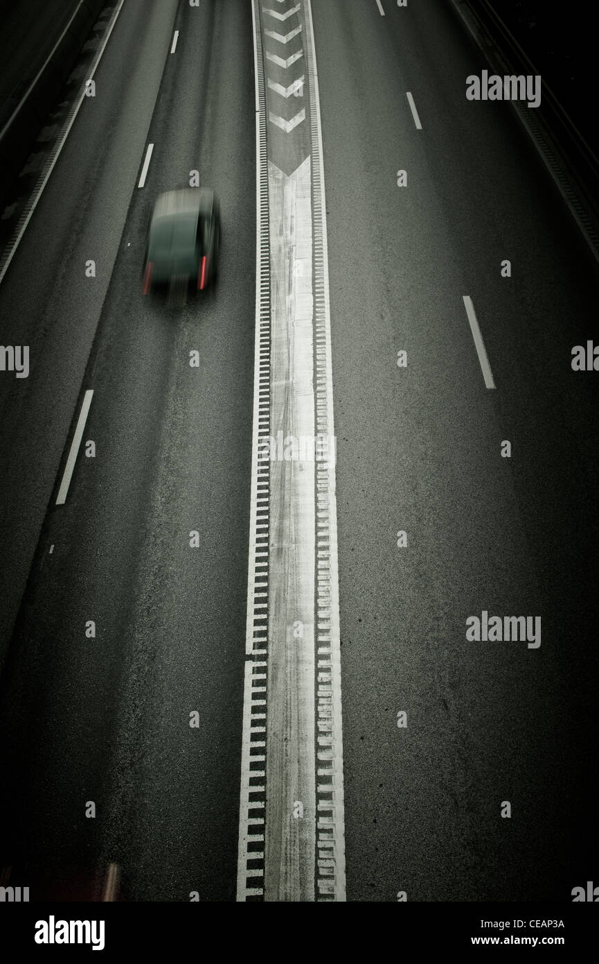 One car on a Freeway - Stock Image