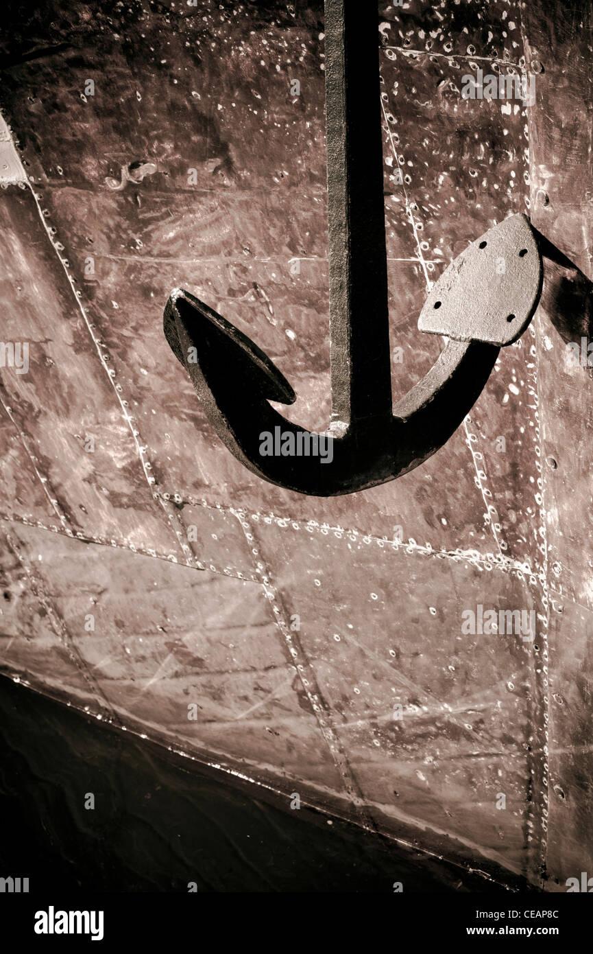 Anchor and hull - Stock Image
