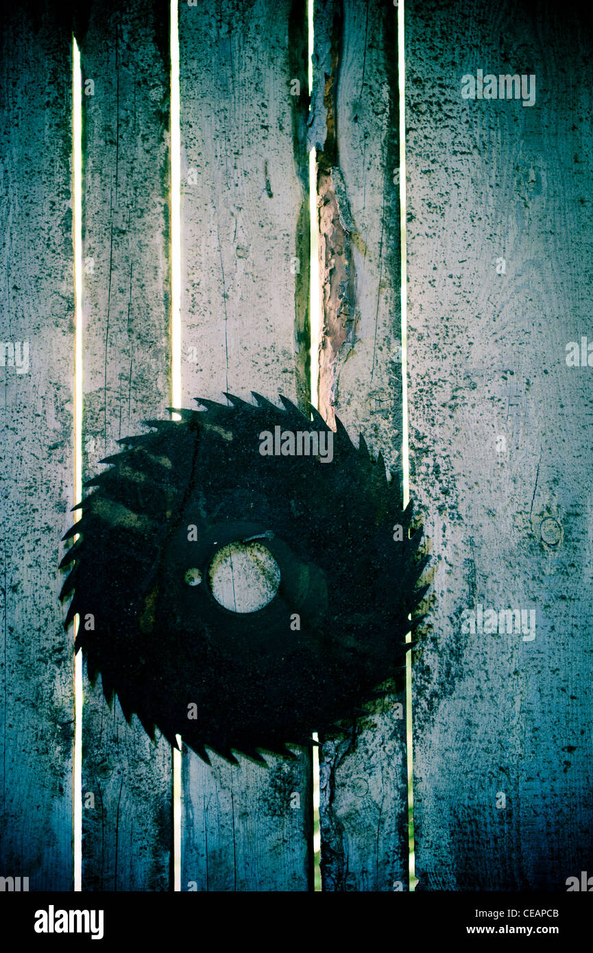 Rusty Rotary Blade hanging on wall - Stock Image