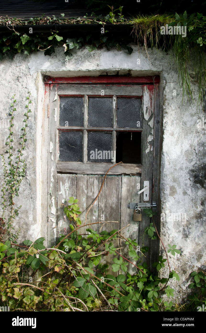 Abandoned House Front Door, Clones, County Monaghan, Ireland, Eire, 2011 - Stock Image