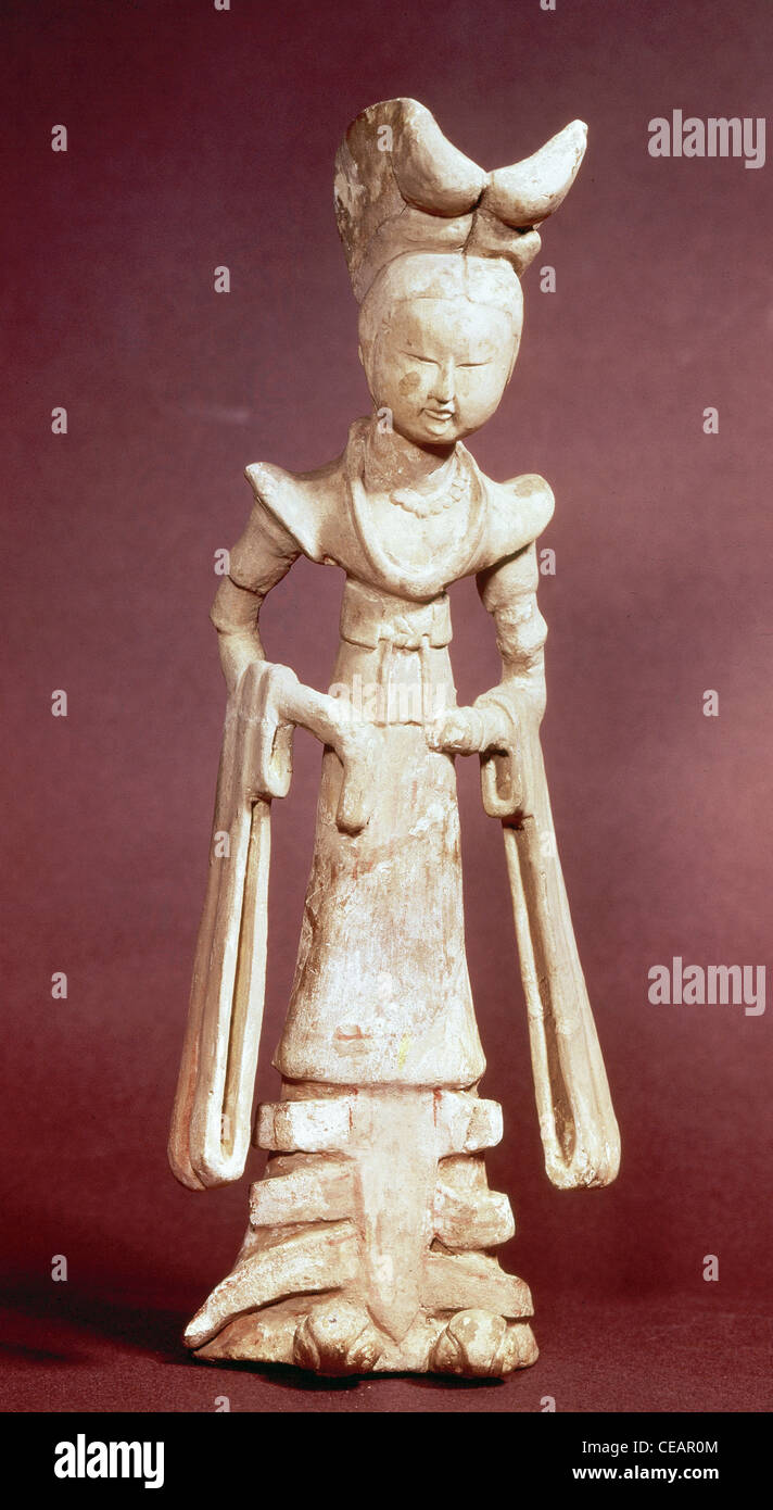 Chinese Art. 7th century. Court Lady. Ceramics. Early Tang Dynasty. - Stock Image