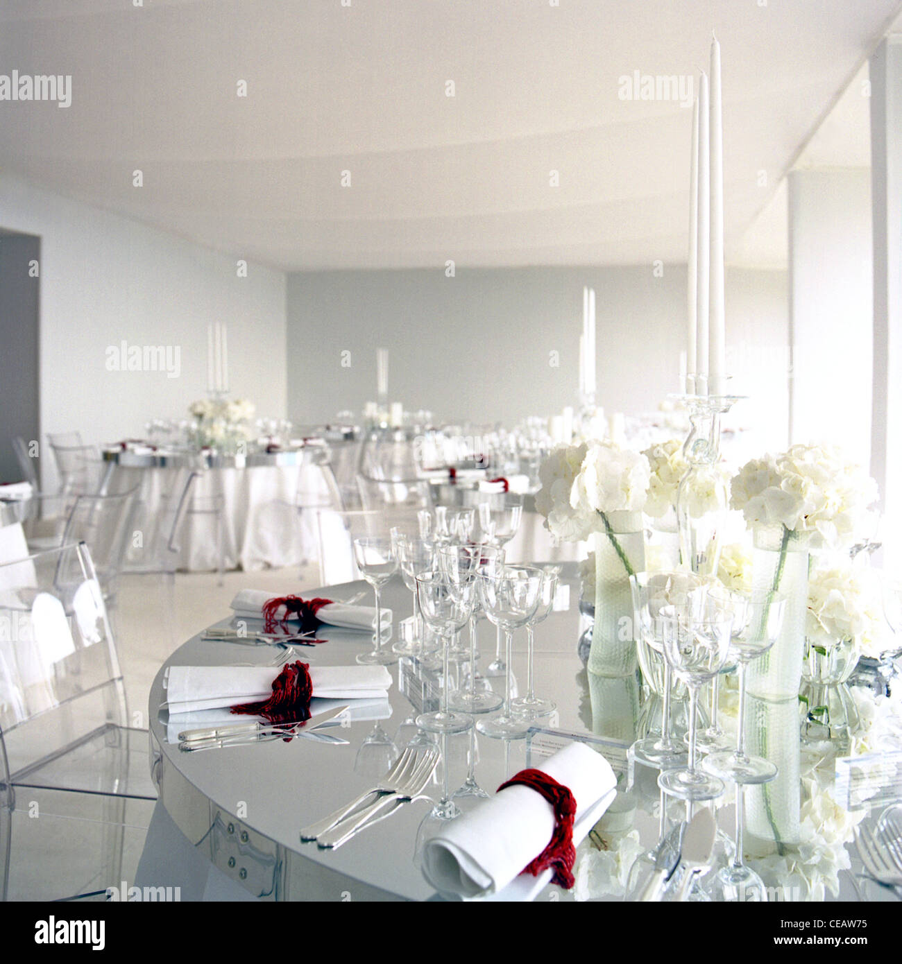 Elegant Wedding Table Setting At A High Class Hotel Stock Photo