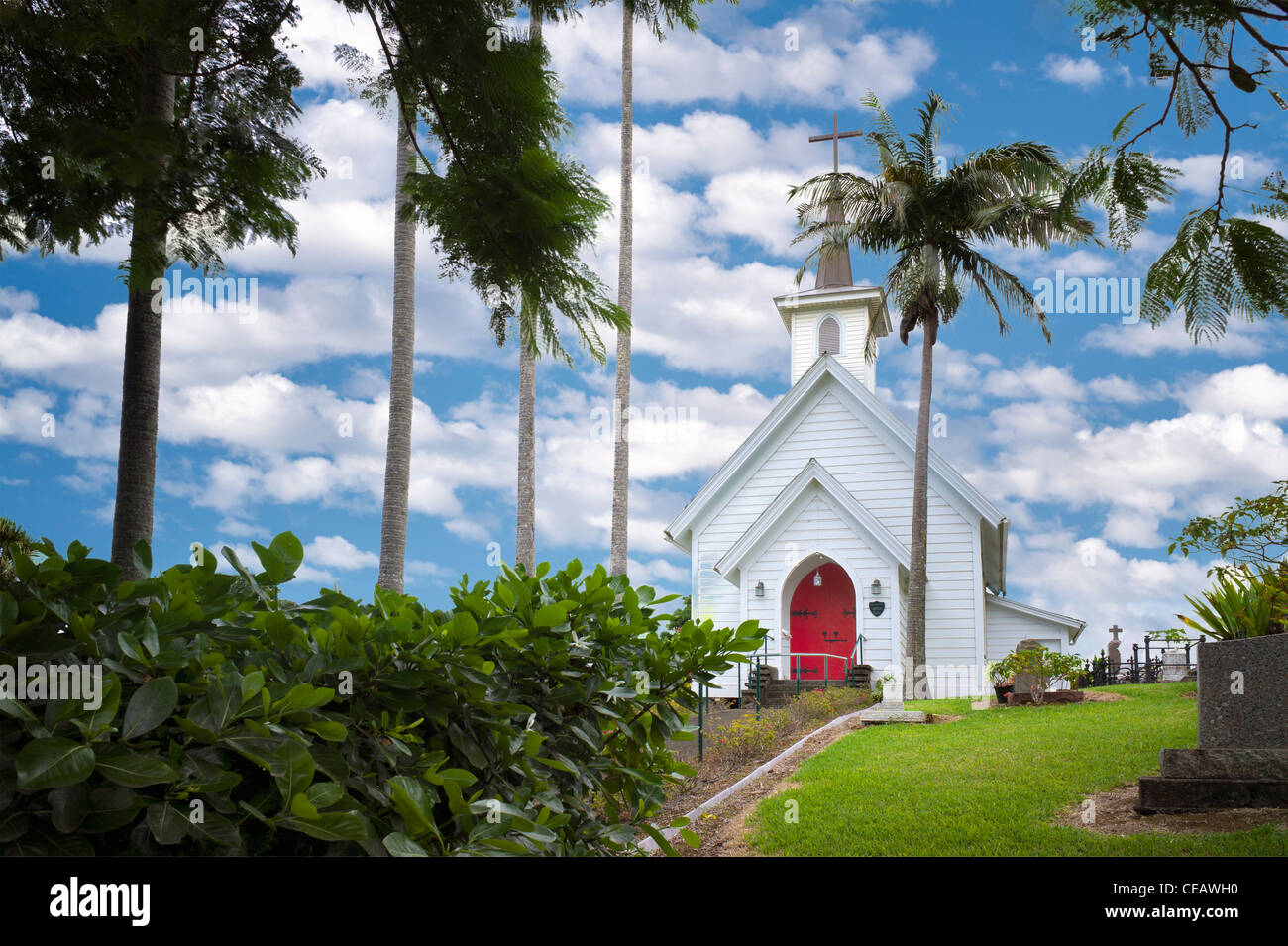 Episcopal Church at Hawi. Hawaii, The Big Island - Stock Image