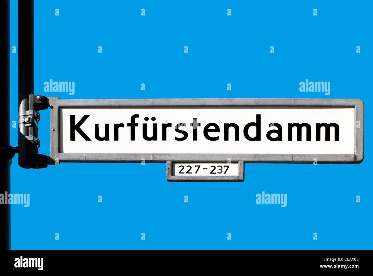 Street sign of the boulevard Kurfuerstendamm in Berlin. - Stock Image