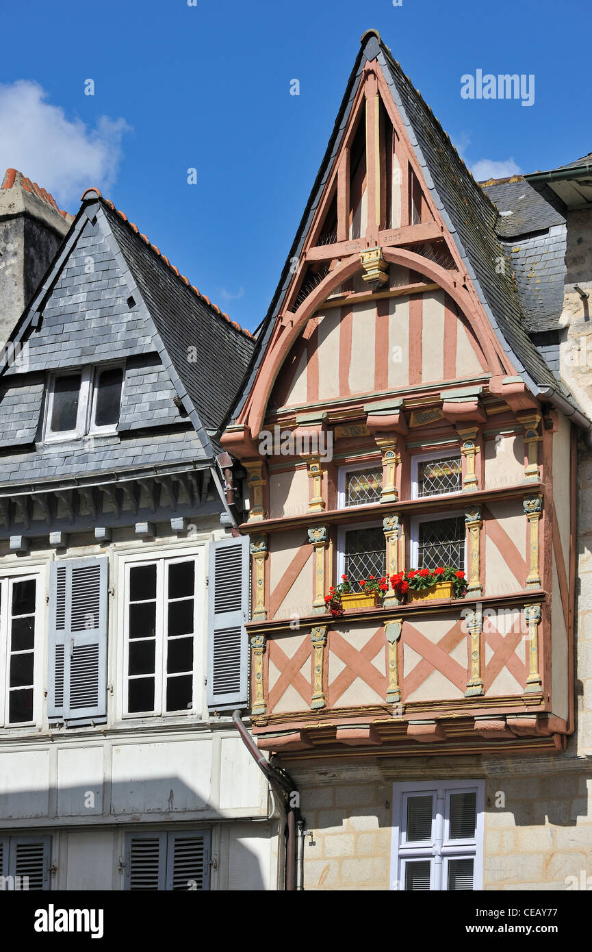 Half-timbered houses in the historic old town of Quimper, Finistère, Brittany, France - Stock Image
