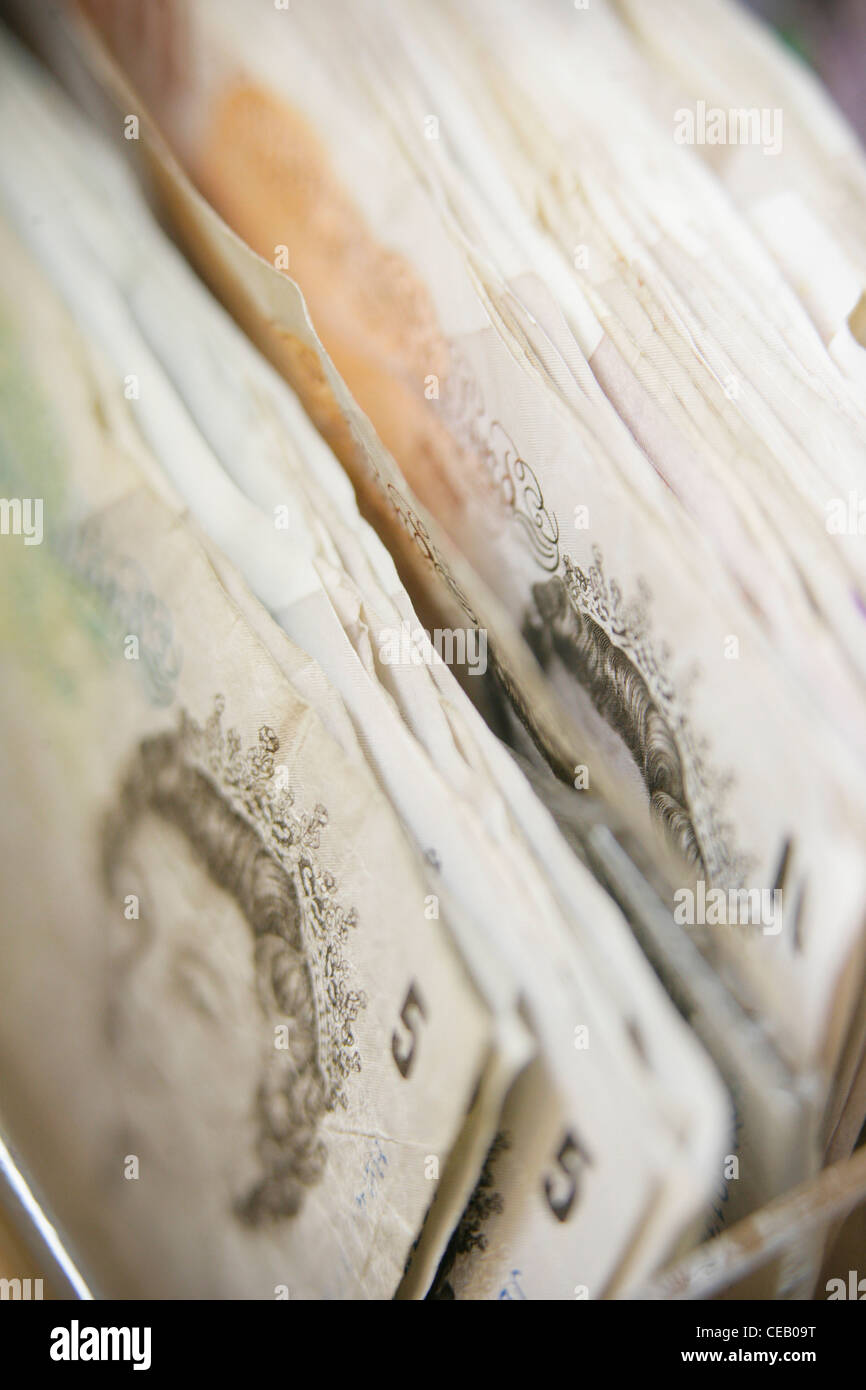 Five and ten pound notes - Stock Image