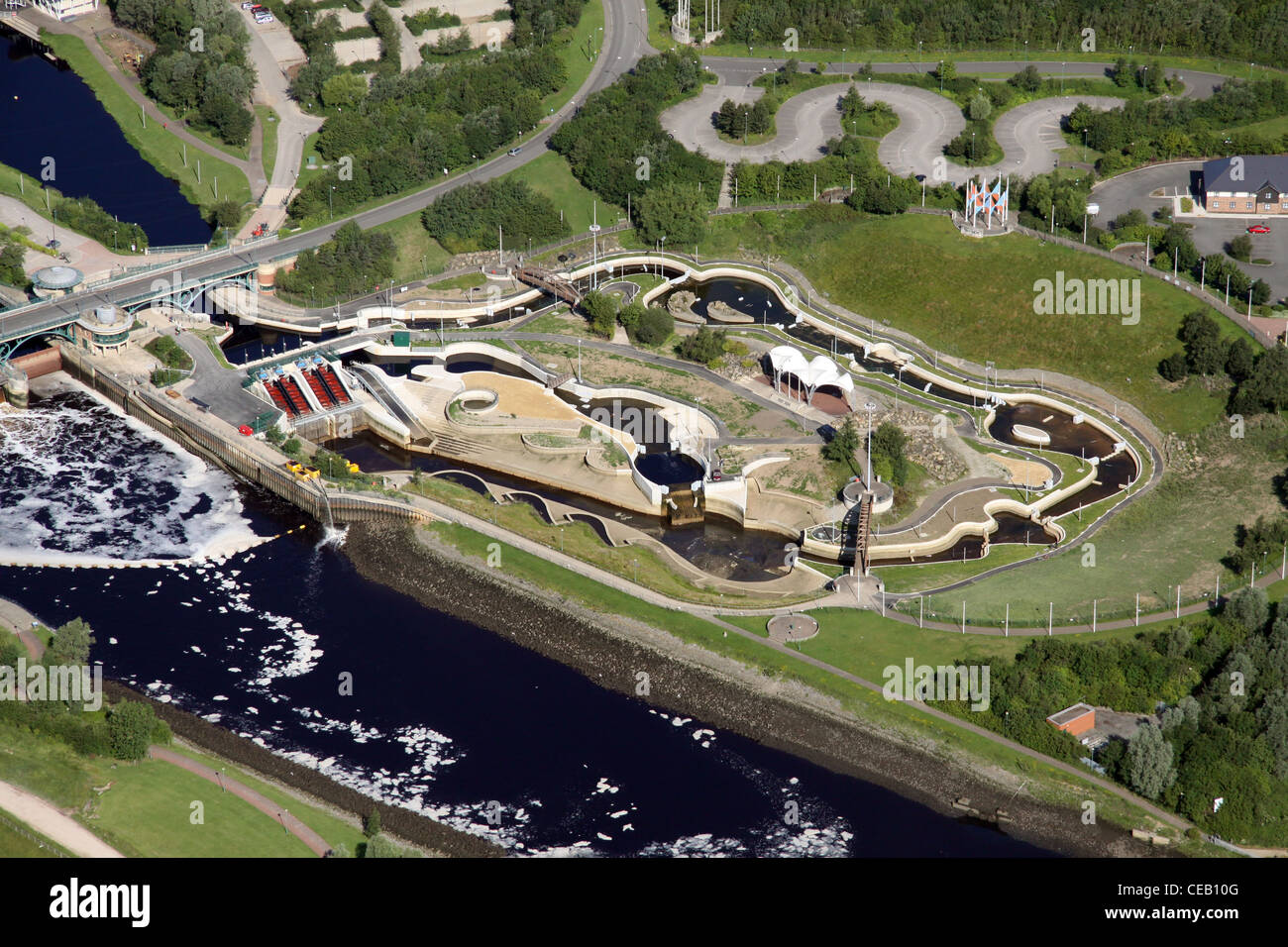 Aerial image of the Tees Barrage, Middlesborough - Stock Image