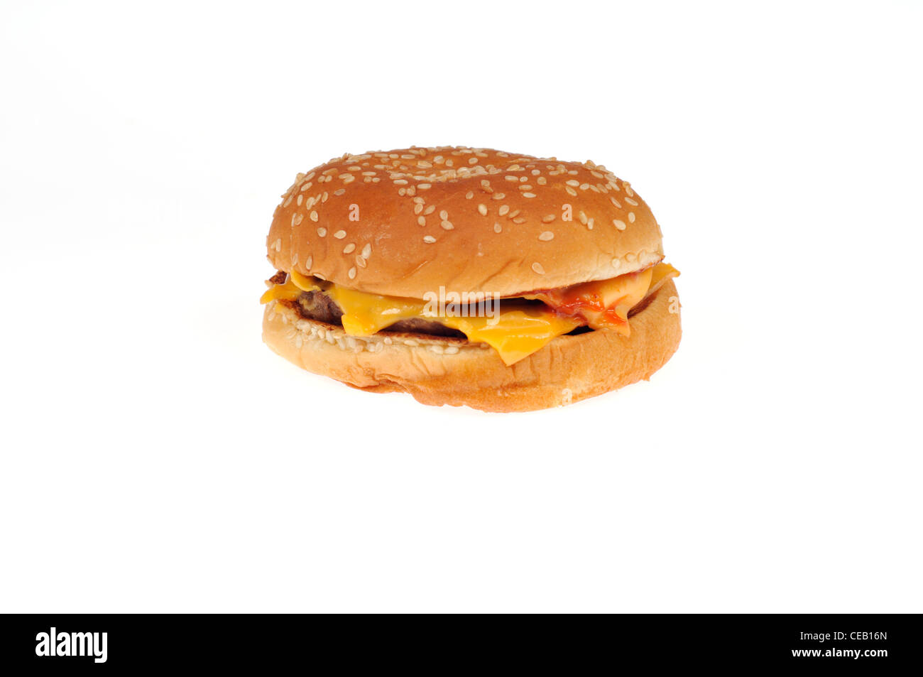 Burger King double cheeseburger on white background cutout USA. - Stock Image