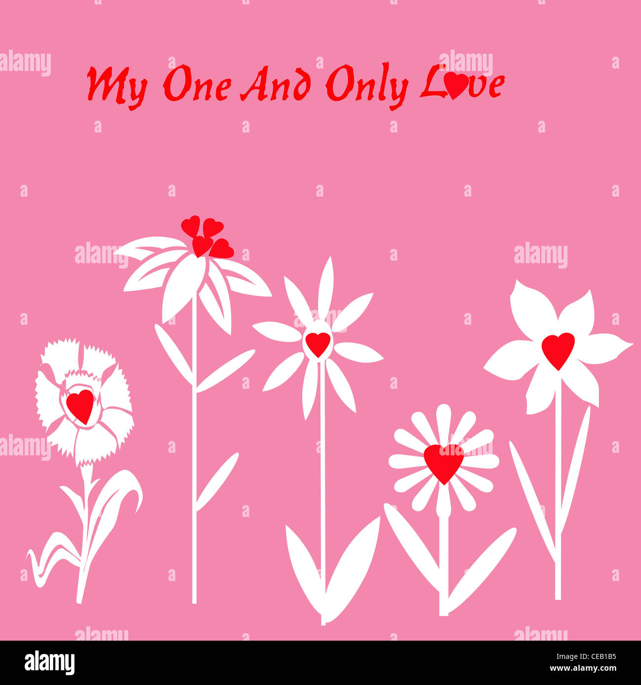Flower hearts pink background five white flowers across bottom flower hearts pink background five white flowers across bottom with red heart centers my one and only love in red at top mightylinksfo