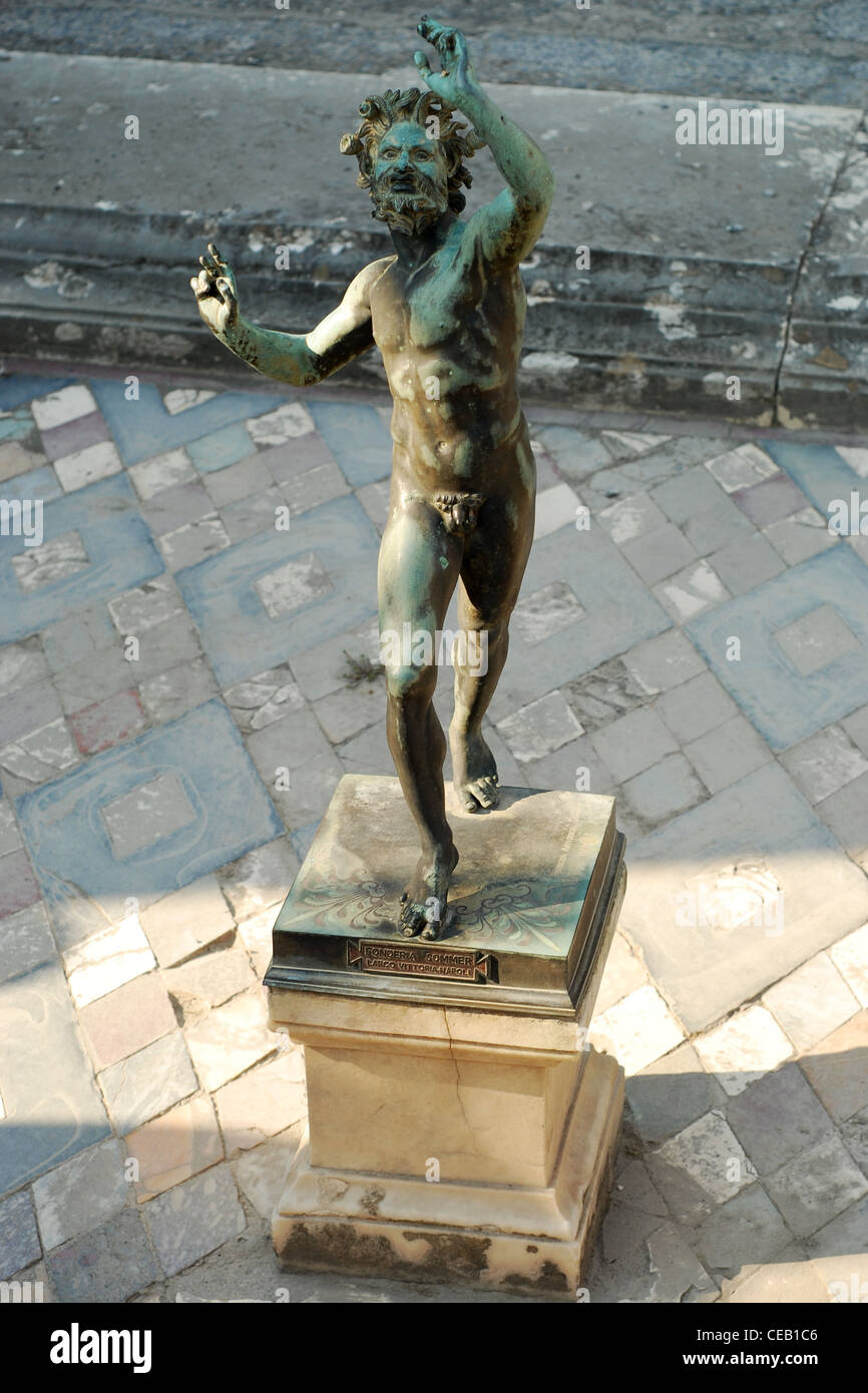 Antique statue of Satyr from ruins in Pompeii - Stock Image