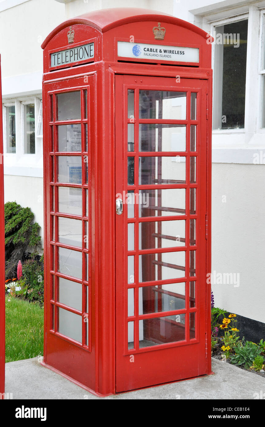 Telephone Box in Stanley Falkland Islands - Stock Image
